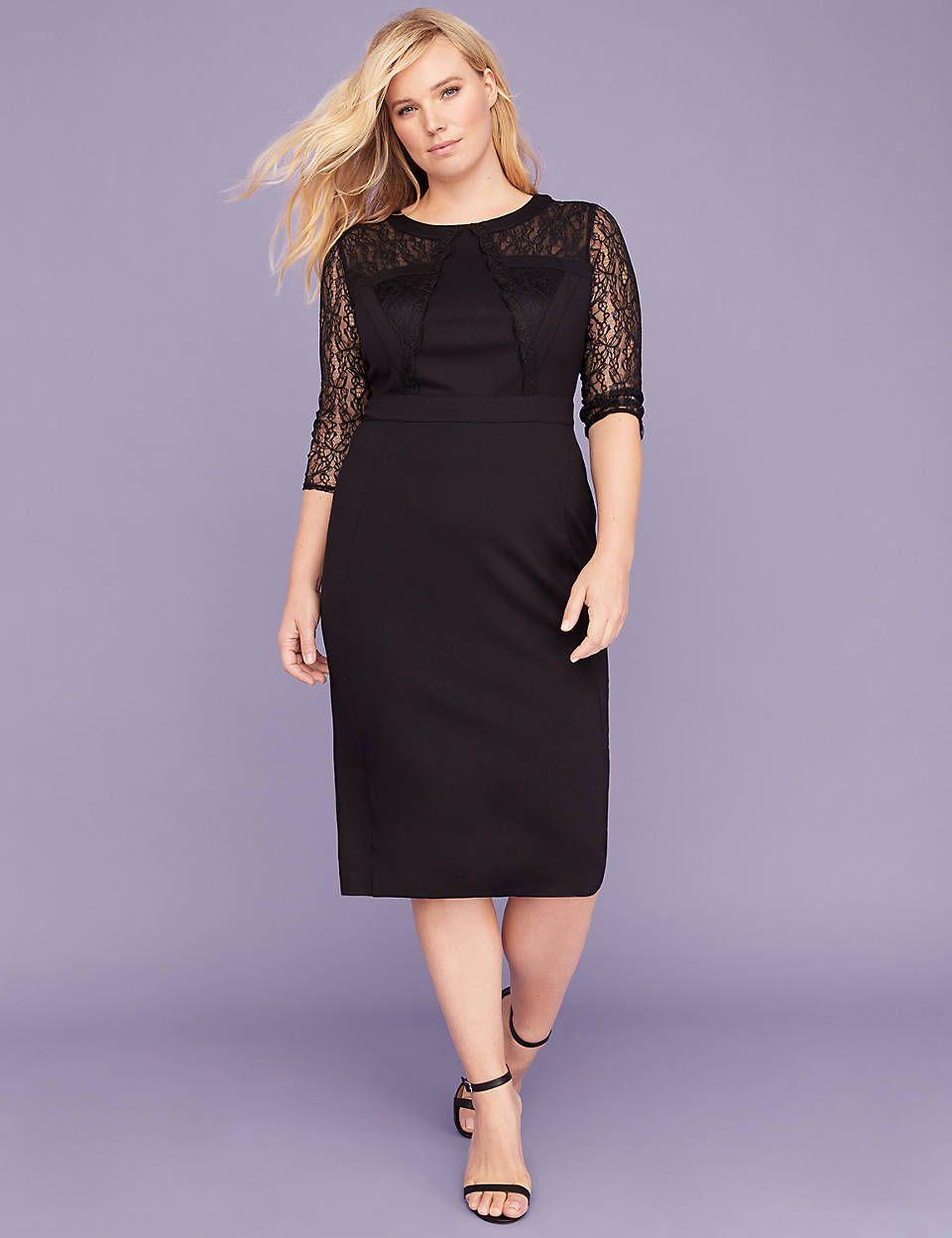 Lace-Sleeve Ponte Sheath Dress | Lane Bryant | My Style | Lace ...