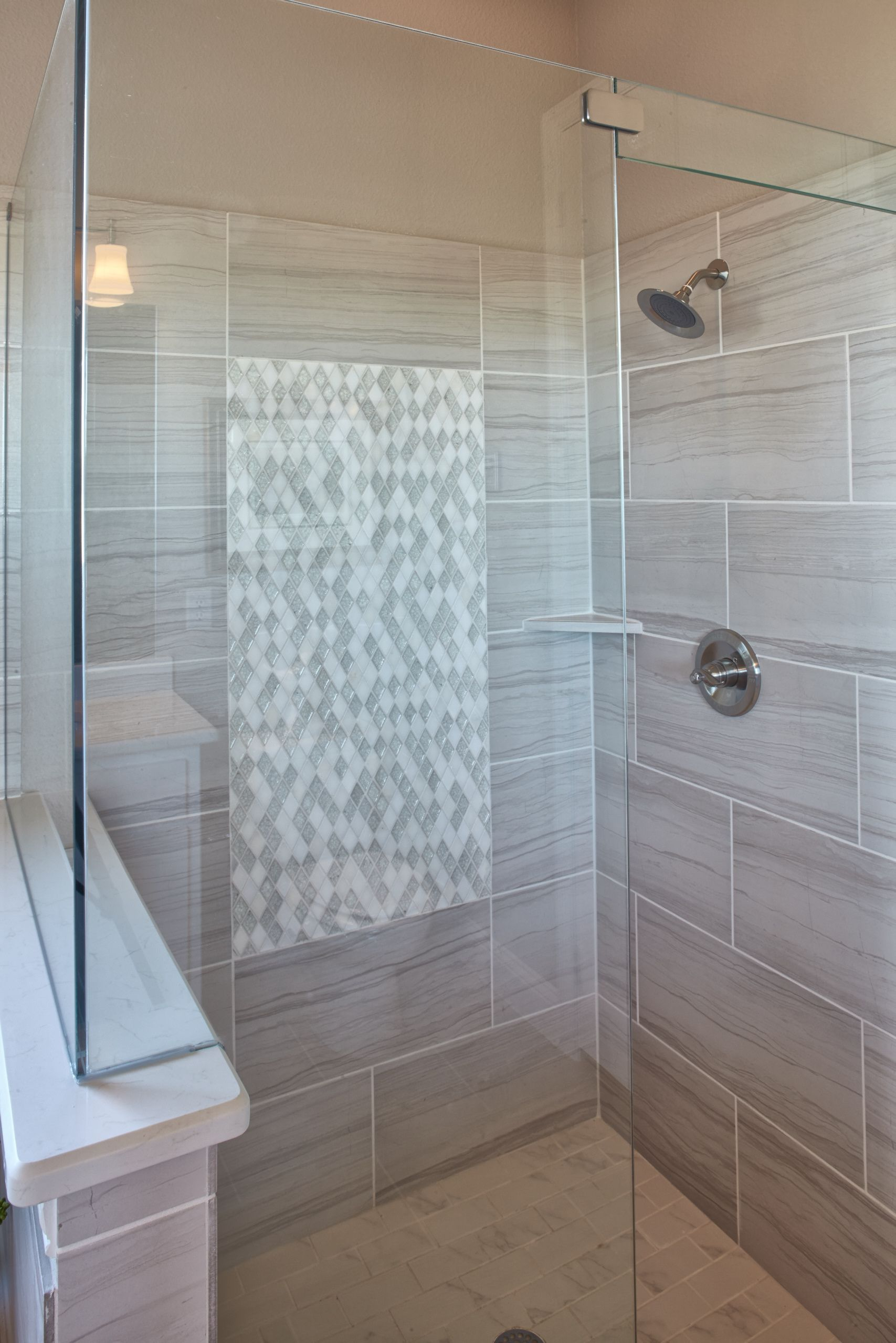mitredtiles around recessed niche in shower | master bath ...