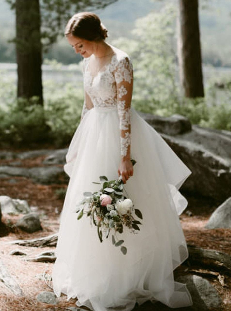 Sheath Wedding Dress with Detachable Tulle Skirt,Long