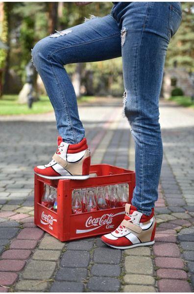 Sneakersy Na Koturnie Bialo Czerwone Wedge Heels Sneakers Heels