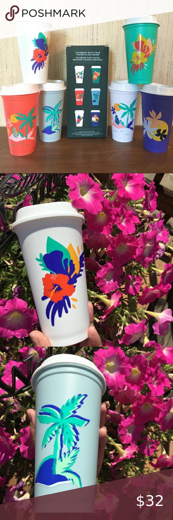 Starbucks 2020 Summer 6 Reusable Hot Cups 16oz in 2020