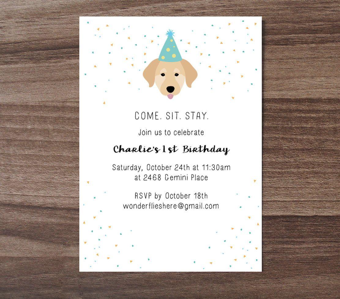 Custom Dog Theme Birthday Invitation, Children\'s Birthday Invite ...