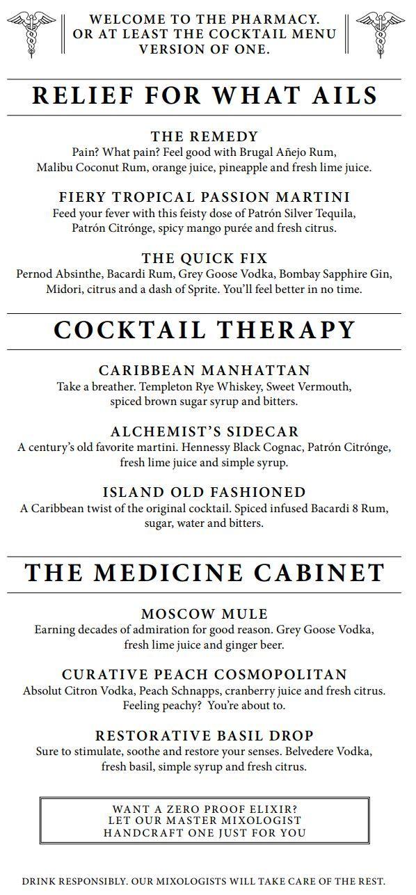 Carnival Alchemy Bar Menu page 2 Cocktail menu, Malibu