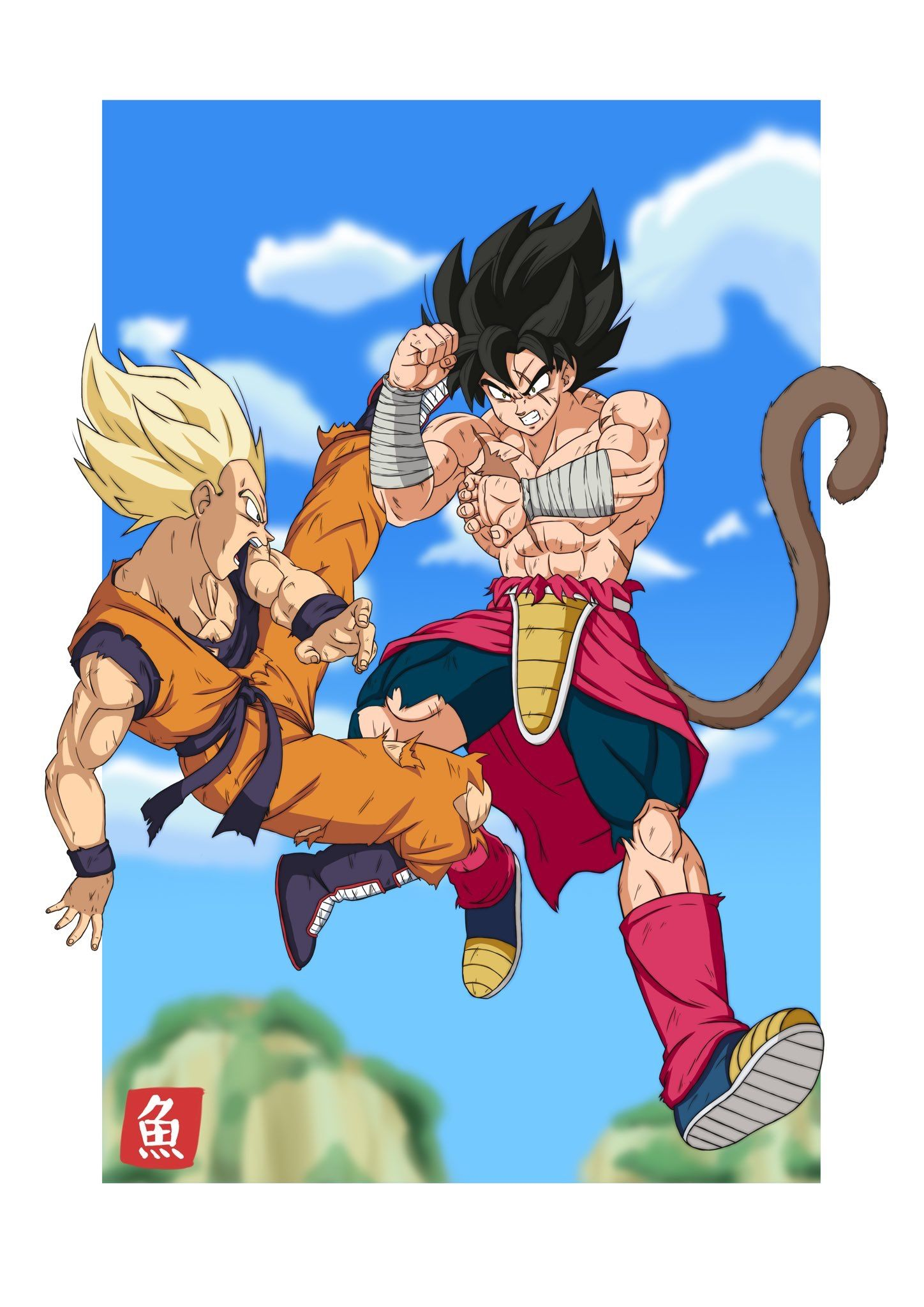 Son Vegeta Vs Kakaroto Dragon Ball Artwork Dragon Ball Art Anime Dragon Ball Super