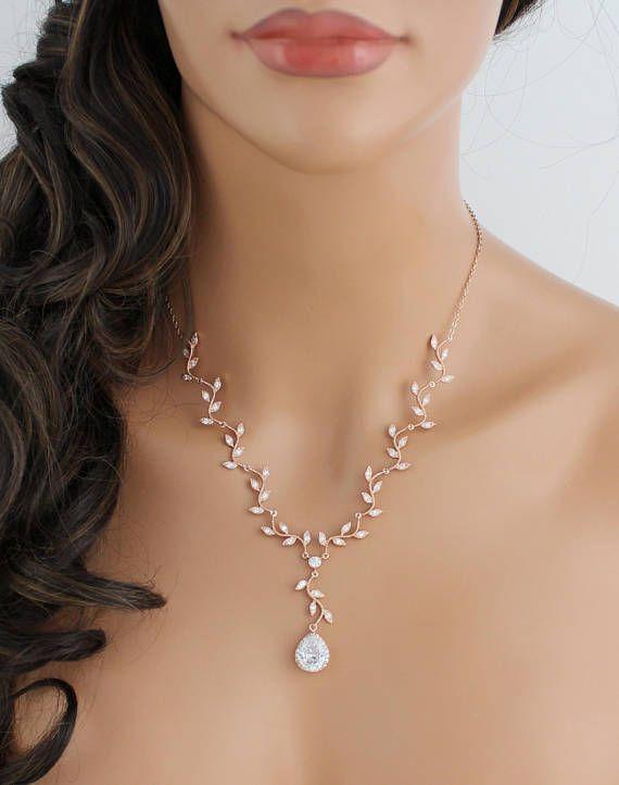 Rose gold necklace Leaf necklace Bridal jewelry Bridal necklace Crystal leaf necklace CZ necklace Wedding jewelry Wedding necklace