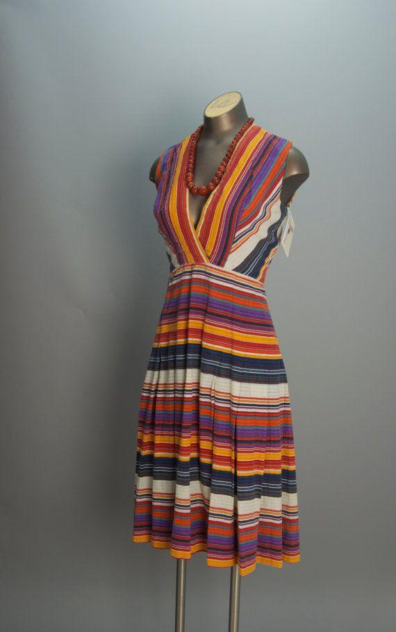 2f5716811f0 1970s cotton summer dress 70s rainbow striped dress size small ...