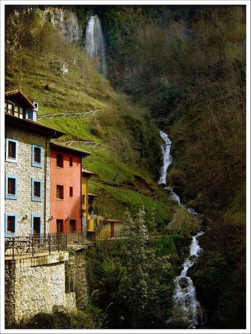 bluepueblo:    Waterfalling,  Asturias, Spain   photo via chef