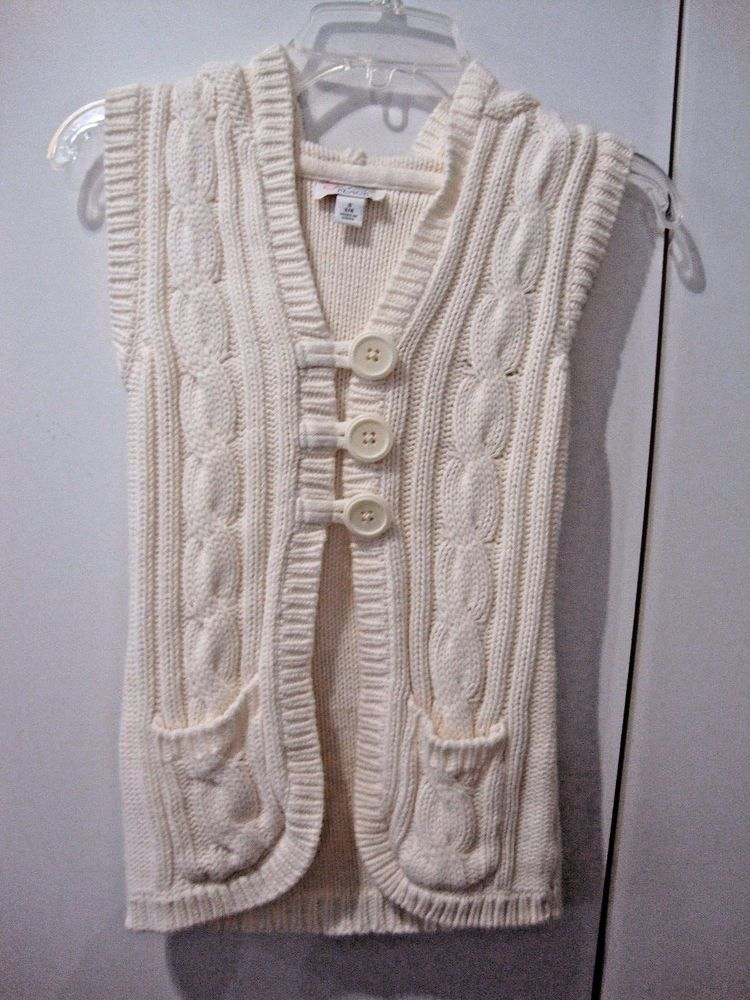 NWOT Girls Size 5-6 Sweater Vest Looks Hand Knit Cream Color ...