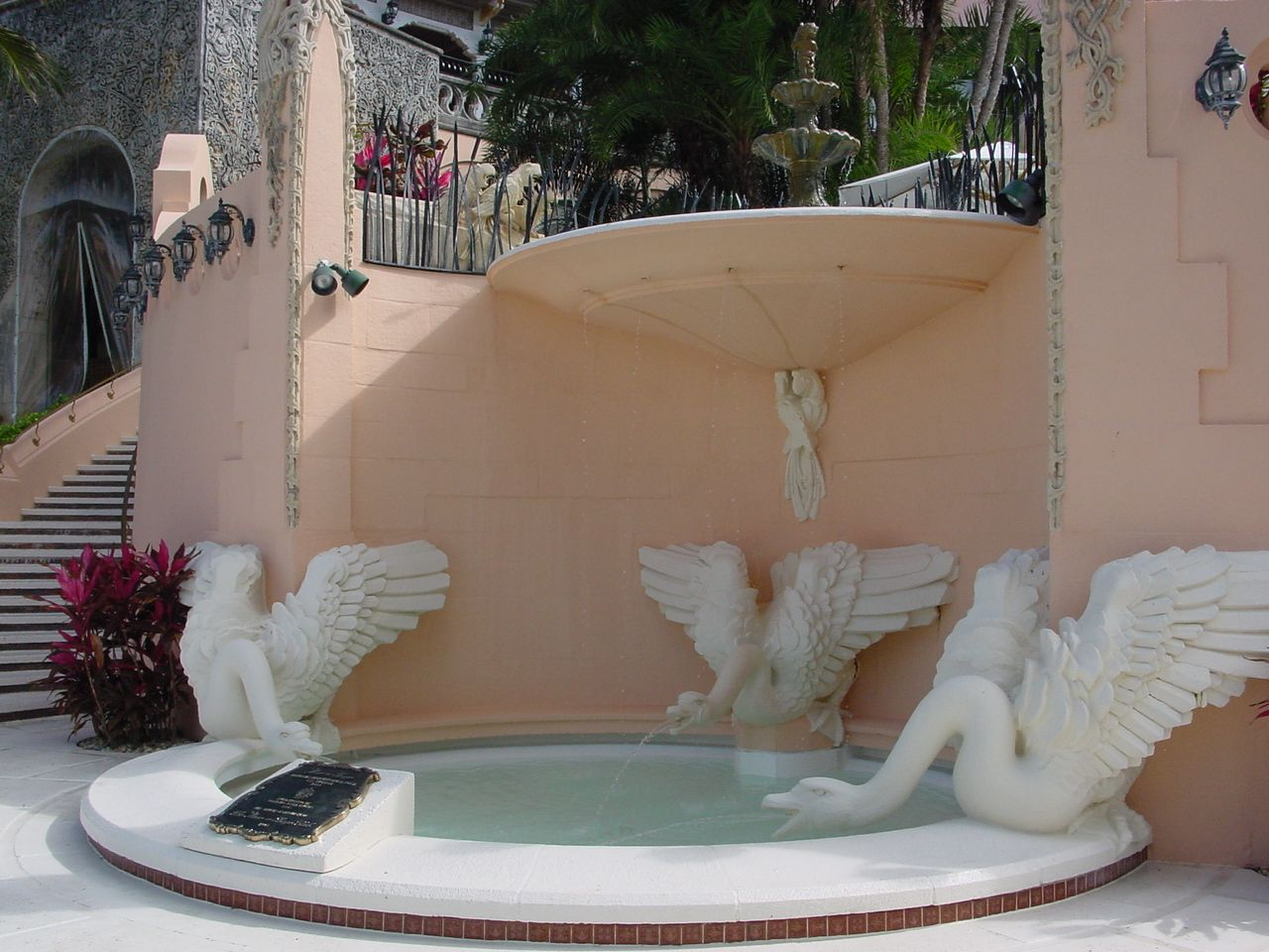 Swans At Base Of Stairways To Pool Deck, Mar A Lago, Palm