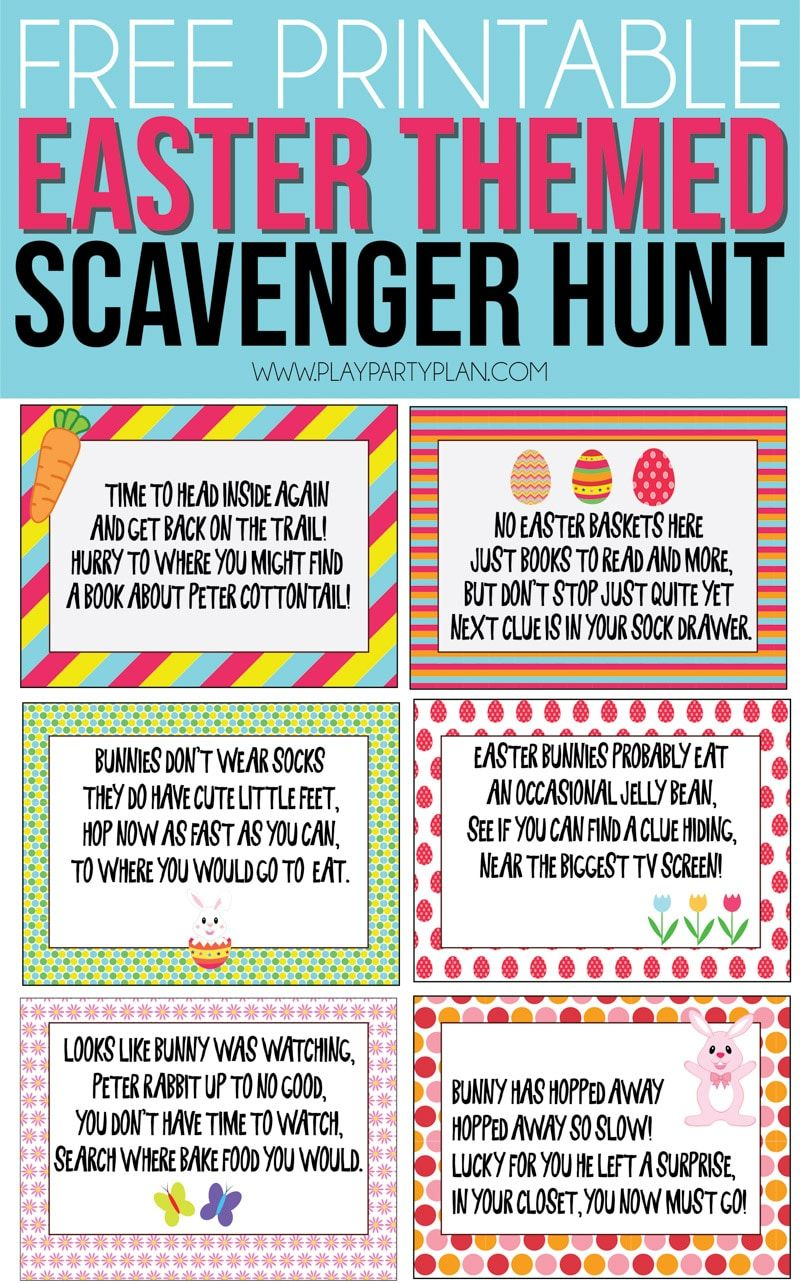 Free Printable Easter Scavenger Hunt Clues Play Party