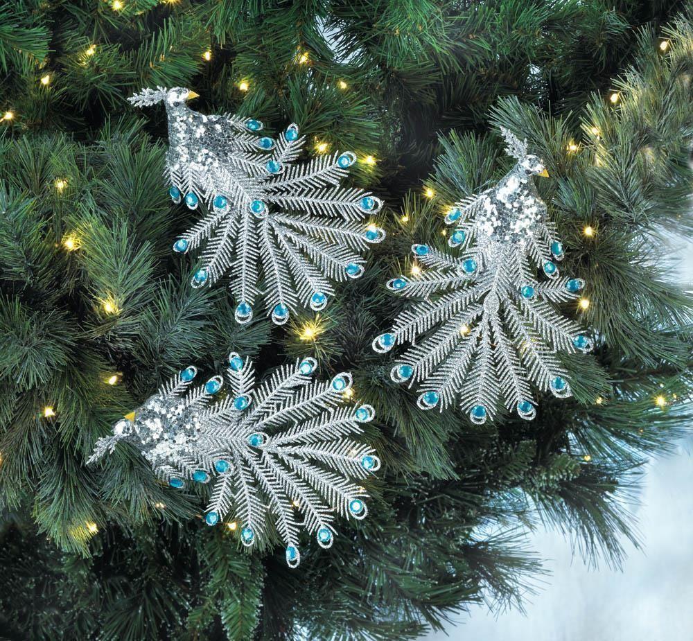 Blue gem peacock ornament set christmascollection
