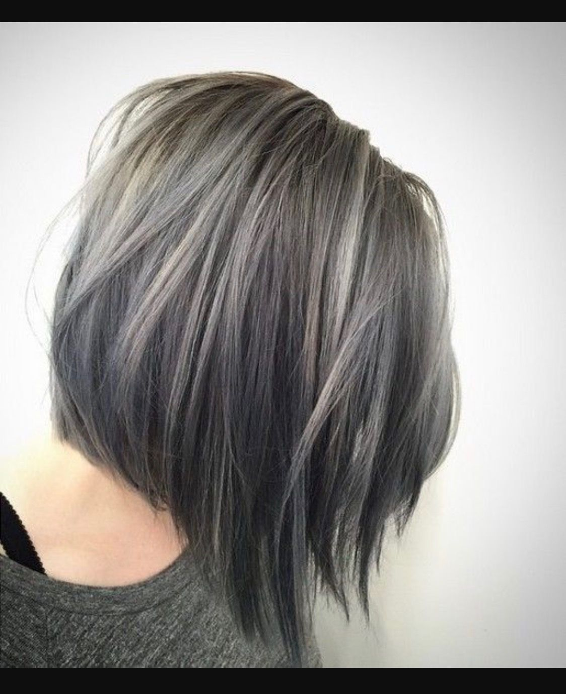Gray hair transition highlights in a cute bob  Brunette hair with
