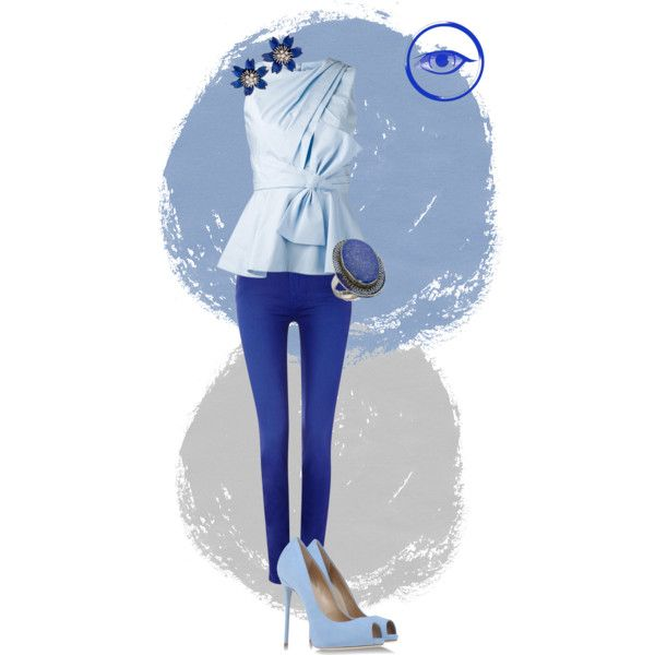 A fashion look from September 2014 featuring twist top, electric blue skinny jeans and platform shoes. Browse and shop related looks.