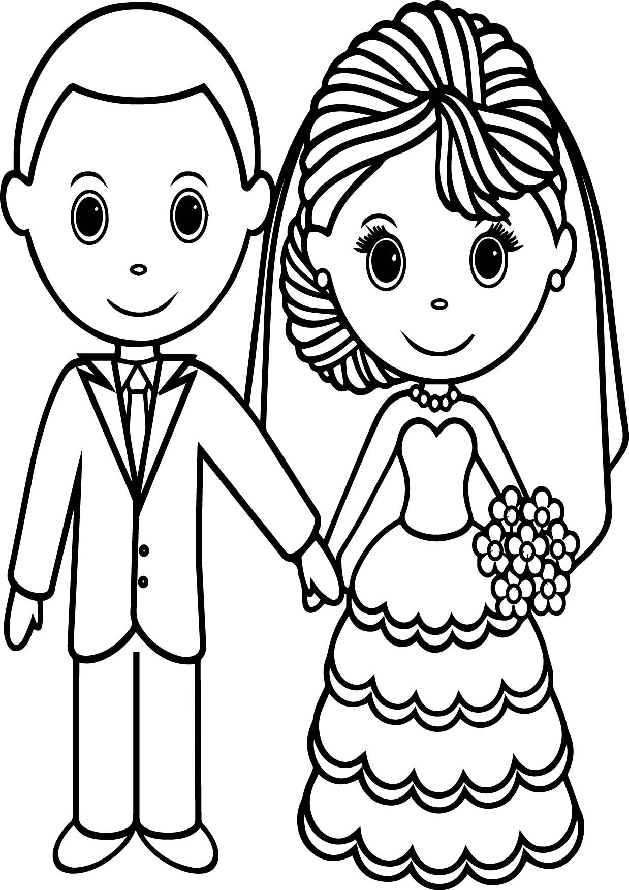 Wedding Couple Coloring Pages Wecoloringpage Wedding
