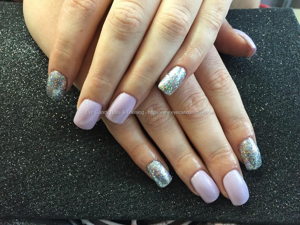 Acrylic nails with lilac and silver gel polish