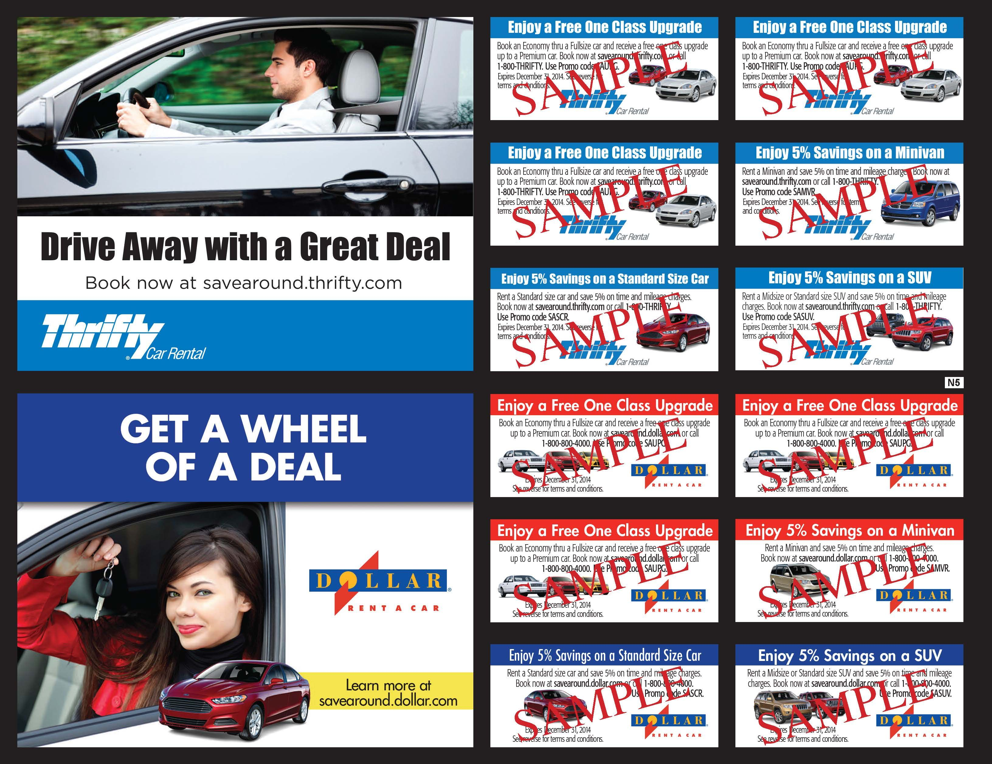 Thrifty Car Rental And Dollar Rent A Car Are Featured In All U S Editions Of 2014 Savearound Coupon Books Thrifty Car Rental Coupon Book Car Rental