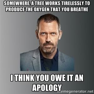 Somewhere, a tree works tirelessly to produce the oxygen that you breathe i think you owe it an apology | Dr. house