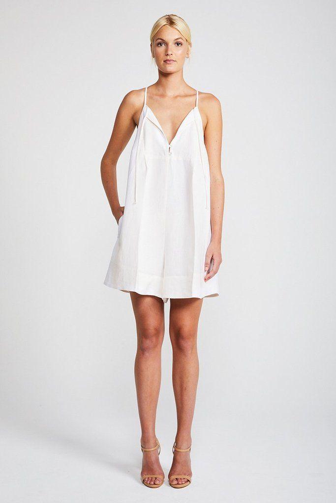 120776b4fe0 DAWN TRAPEZE MINI ROMPER - CREAM Shona Joy Dress