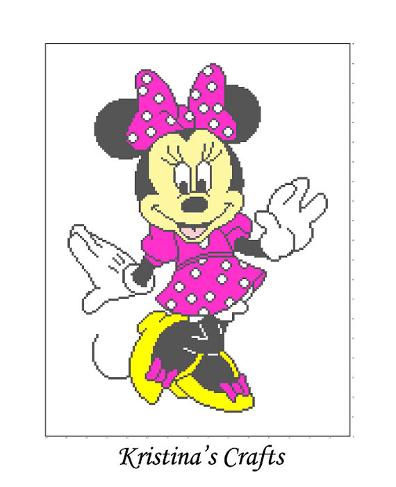 PATTTERN-Minnie Mouse Blanket Crochet/Cross Stitch Graph | Tejido y ...