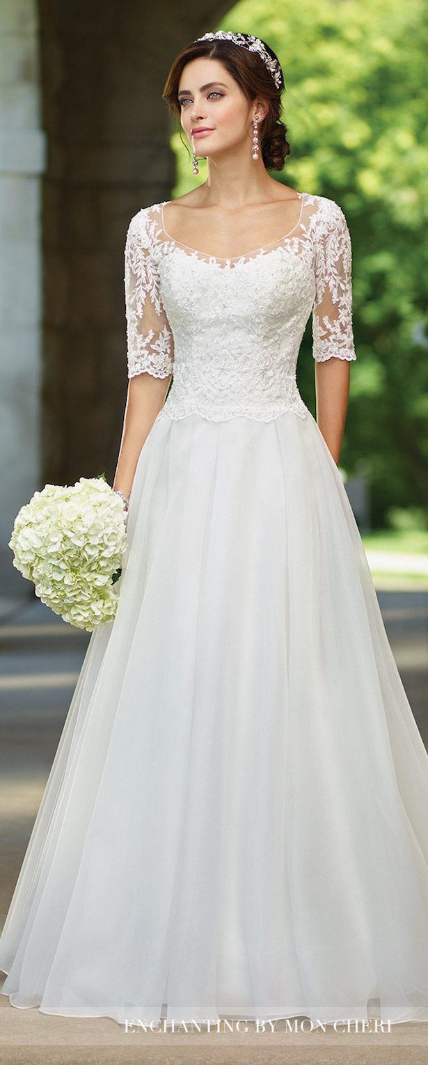 Lace arm wedding dress  Bridal Trends  Lace Illusion Sleeves With Mon Cheri Bridals