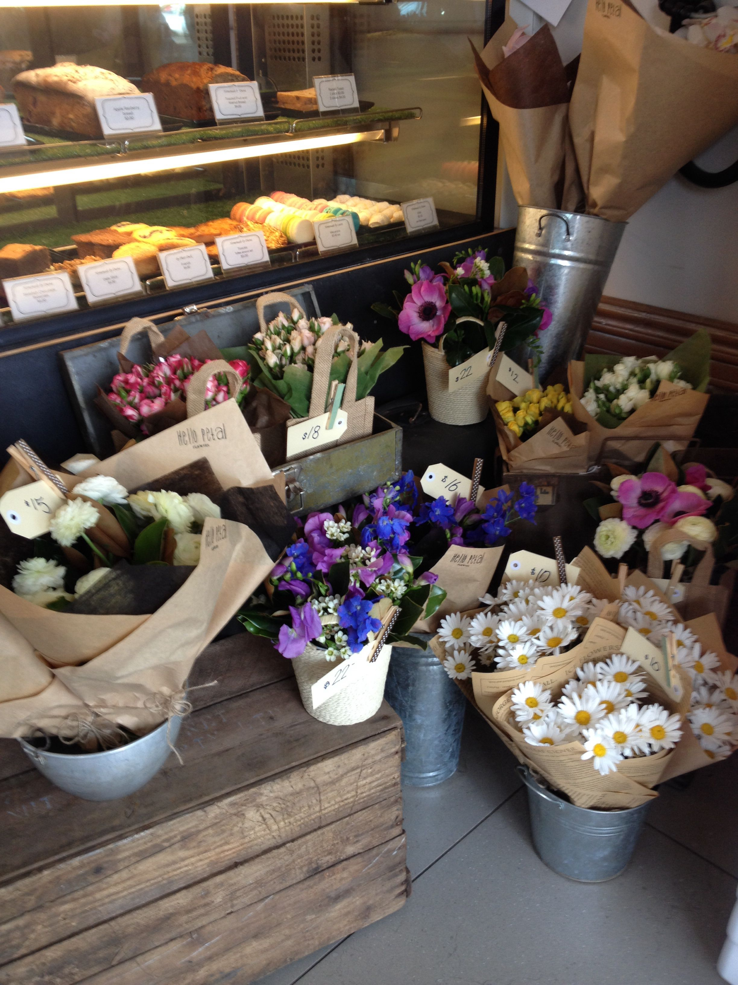 Flowers at a coffee shop by HelloPetal. Great idea