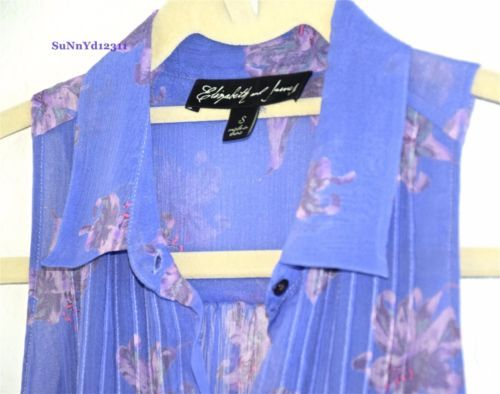 ELIZABETH-and-JAMES-blouse-floral-purple-sleeveless-button-down-top-shirt-S-M