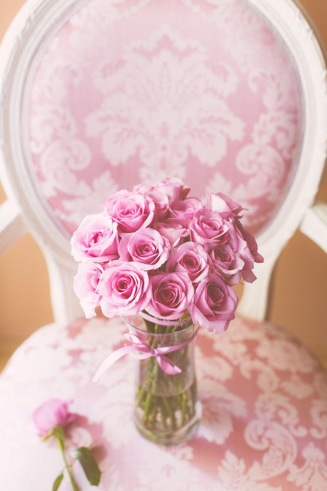 Pink Damask Chair & Roses