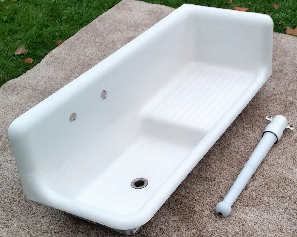 Antique Original Porcelain Cast Iron Corner Farm Sink with Leg USA ...