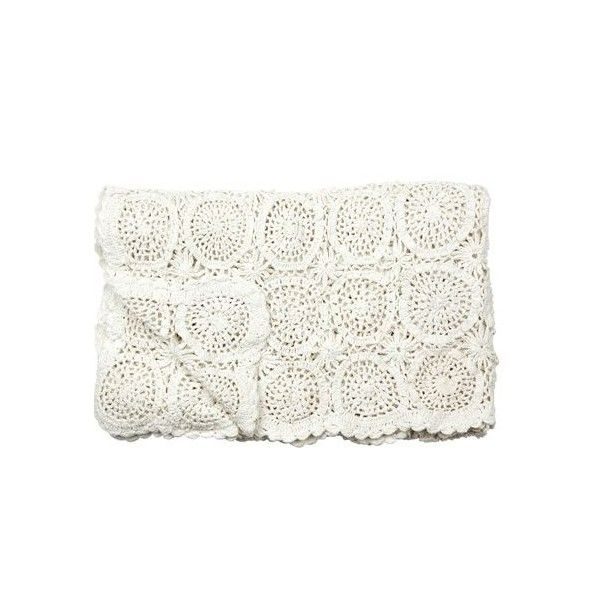 Hand knit plaid off white