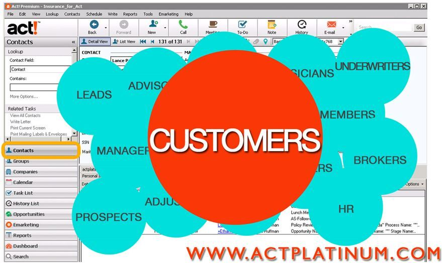 Act Crm For Insurance Professionals Is Based On Contacts The