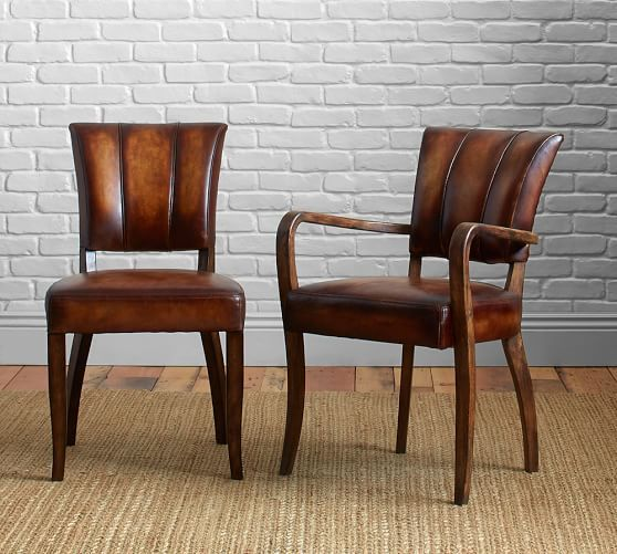 Pottery Barn Elliot Leather Dining Chairs Side Arm And