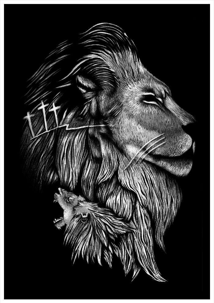 Leao Tribo De Juda Leao De Juda Leao Preto E Branco Tatuagem