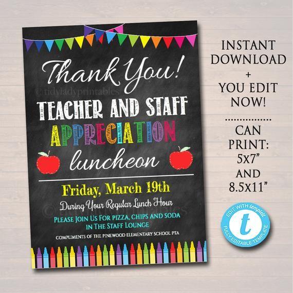Editable Teacher Appreciation Staff Invitation Chalkboard Etsy In 2020 Staff Appreciation Week Teacher Appreciation Staff Appreciation