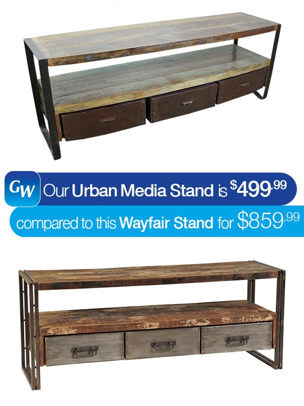 Sometimes our busy lives prevent us from shopping for the best deal.  That's why at Gardner-White we decided to do the shopping for you.  If you're looking for a resurfaced, solid wood media stand but don't want to 'break the bank', our Urban 3-Drawer Media Stand is right for you. Pin it today!