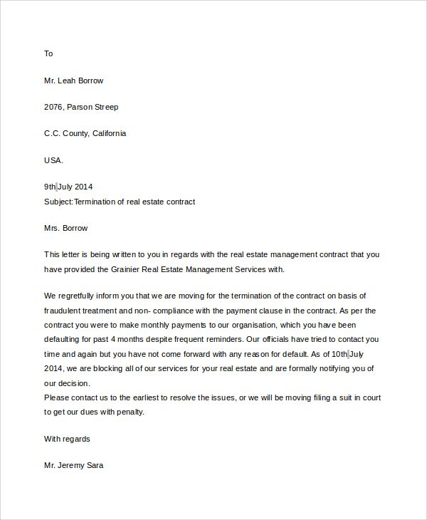 contract termination letter sample notice write cleaning company - management contract template
