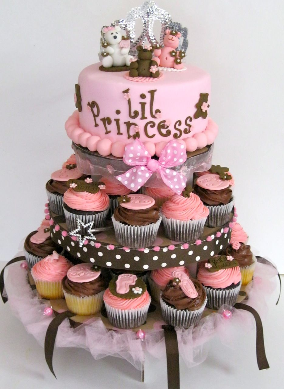 Baby Showed ~ Pink and Brown Baby Shower Cupcake Tower (DON'T CLICK THE  PICTURE! Took me to an inappropriate site but I wanted to share this  picture.)
