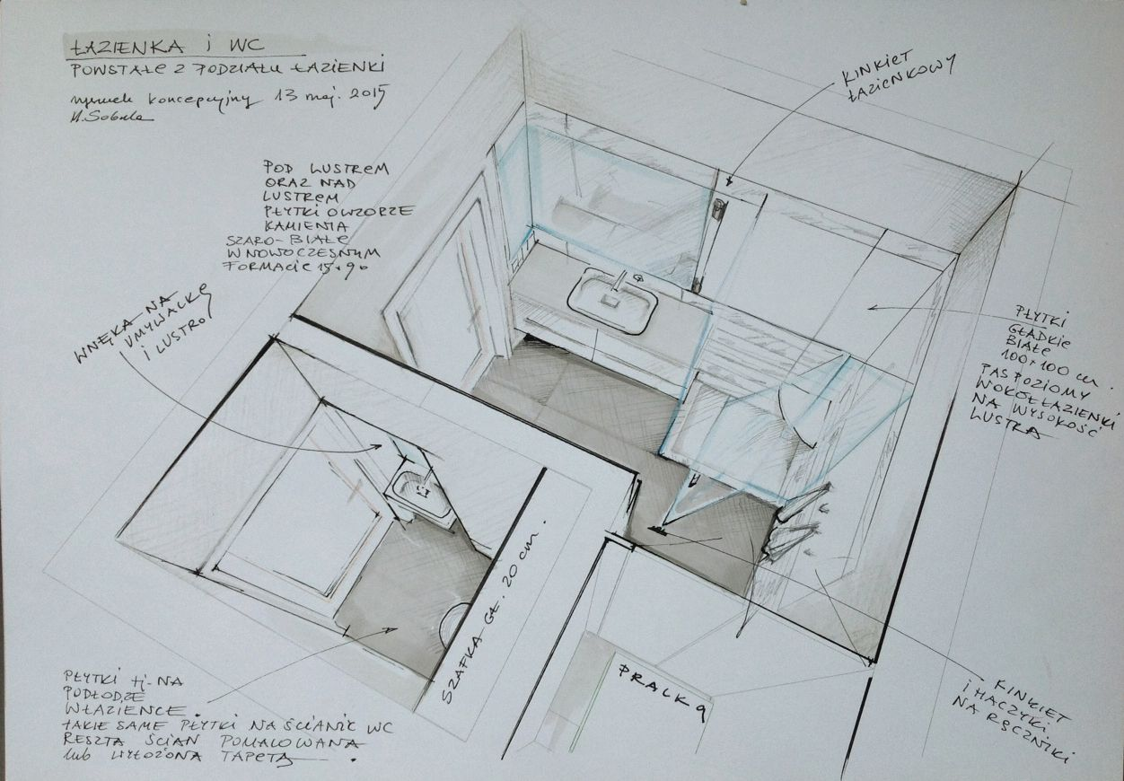 Bathroom perspective drawing - Interior Bathroom Presentation And Ideas Perspective