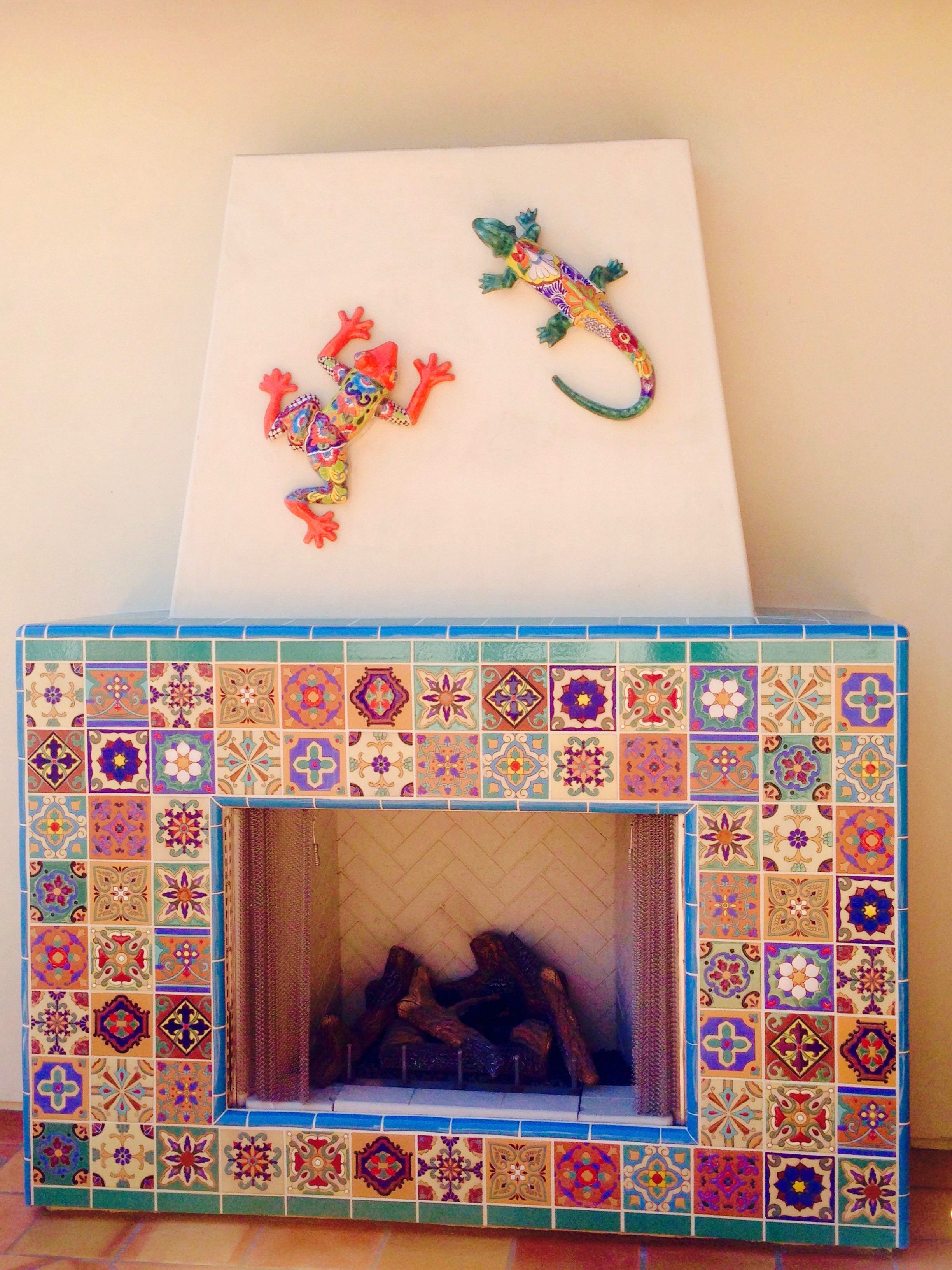 colorful collage of mexican tile for outdoor fireplace the lizard