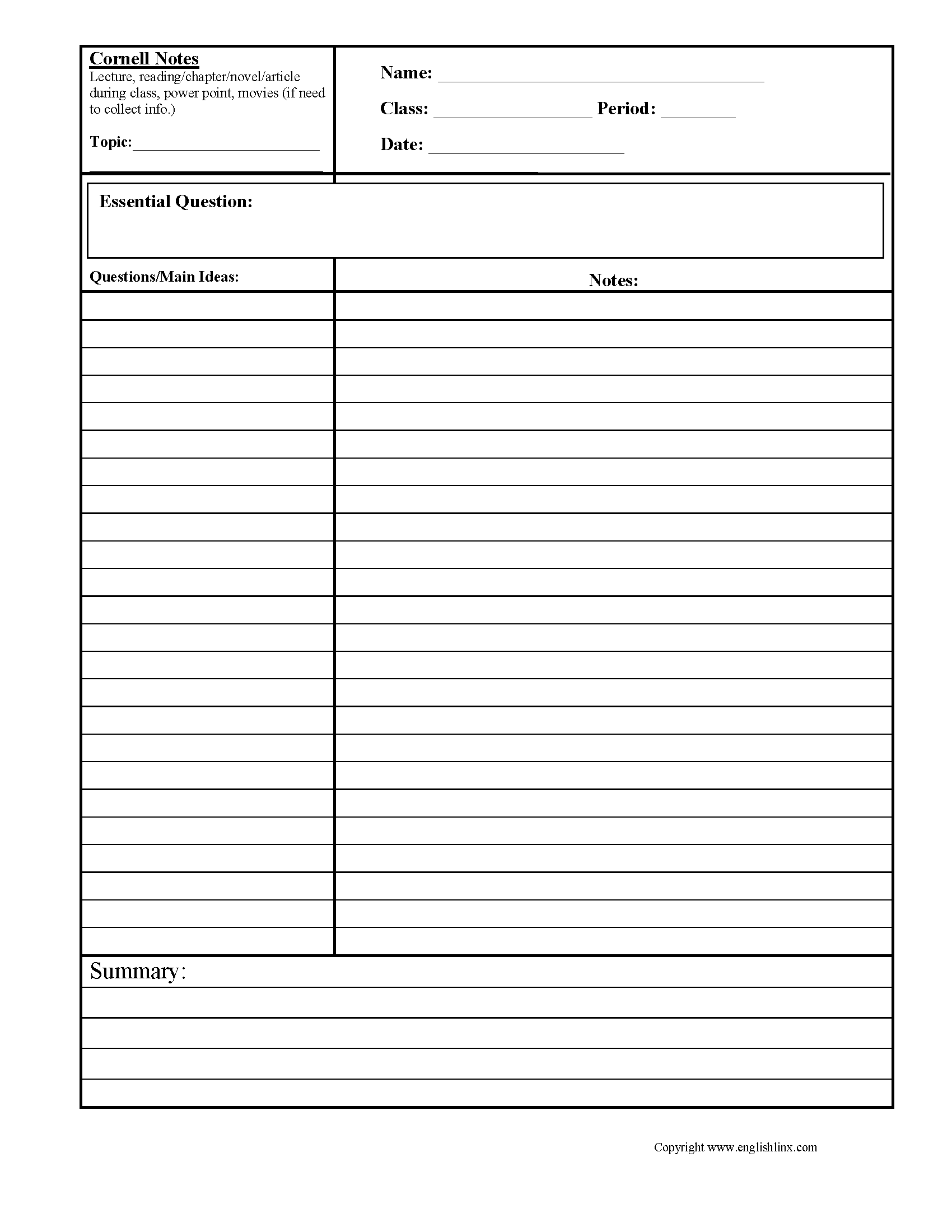 Cornell Notes Summary Worksheets