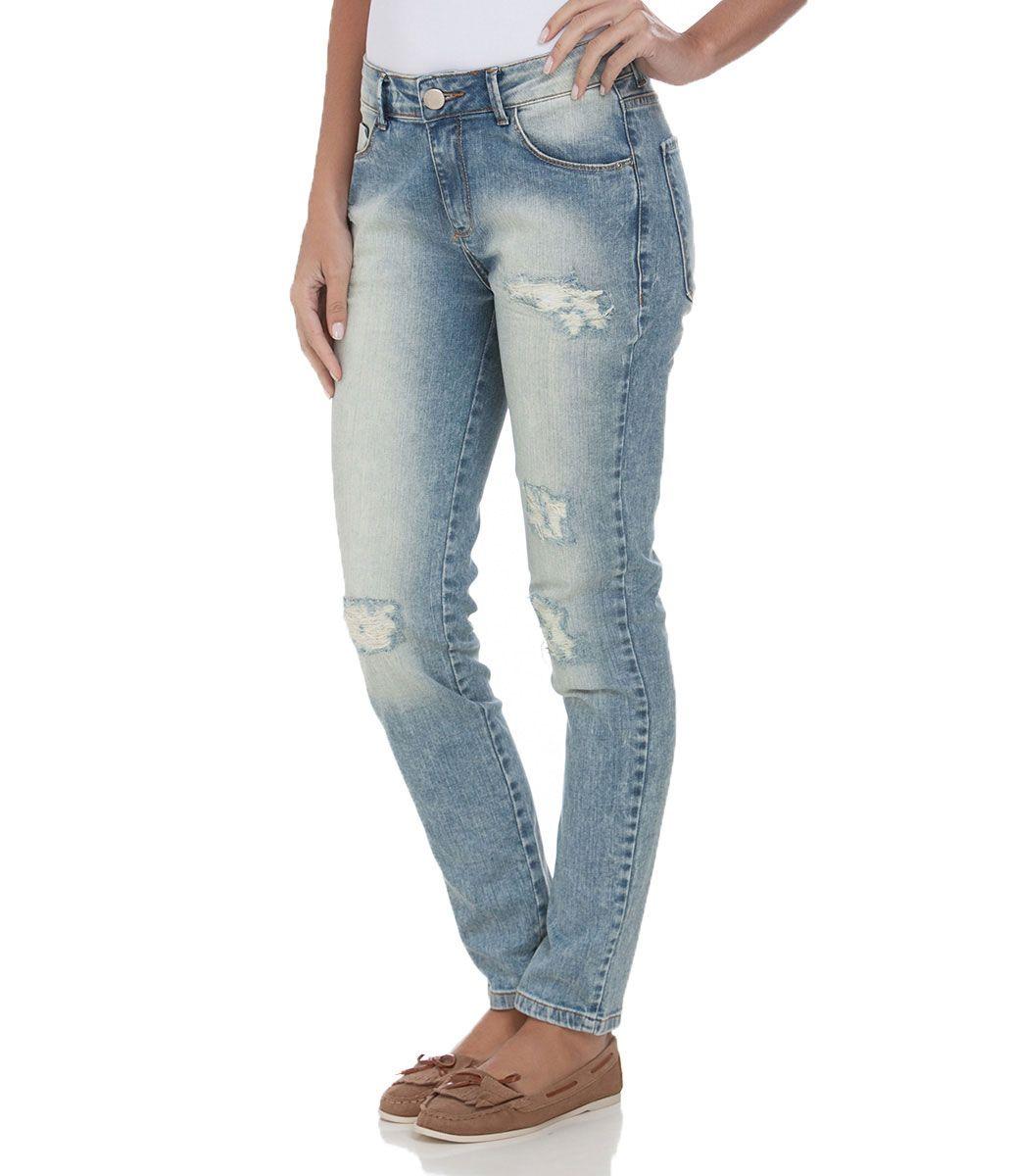 8557fadae Calça Cigarrete Feminina em Jeans com Puídos - Lojas Renner | Moda ...