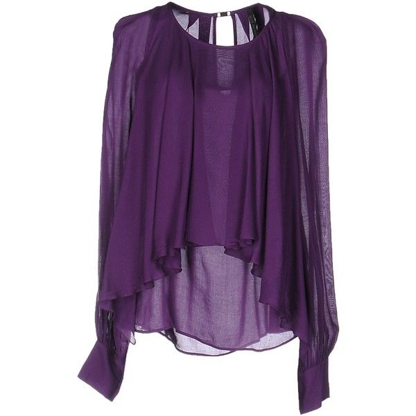 Plein Sud Par Fayҫal Amor Blouse ($130) ❤ liked on Polyvore featuring tops, blouses, purple, purple top, purple blouse, purple long sleeve blouse, long sleeve tops and viscose blouse
