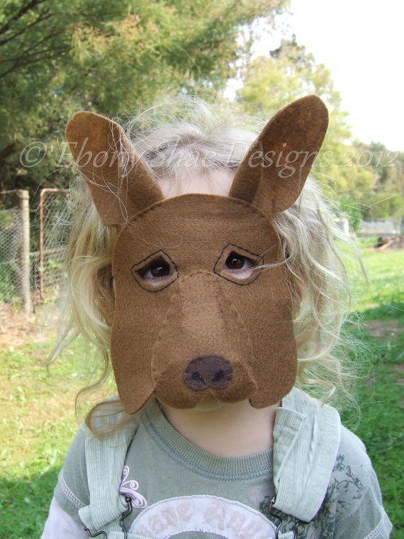 Kangaroo Mask PATTERN. Kids Kangaroo Costume PDF sewing patttern ...