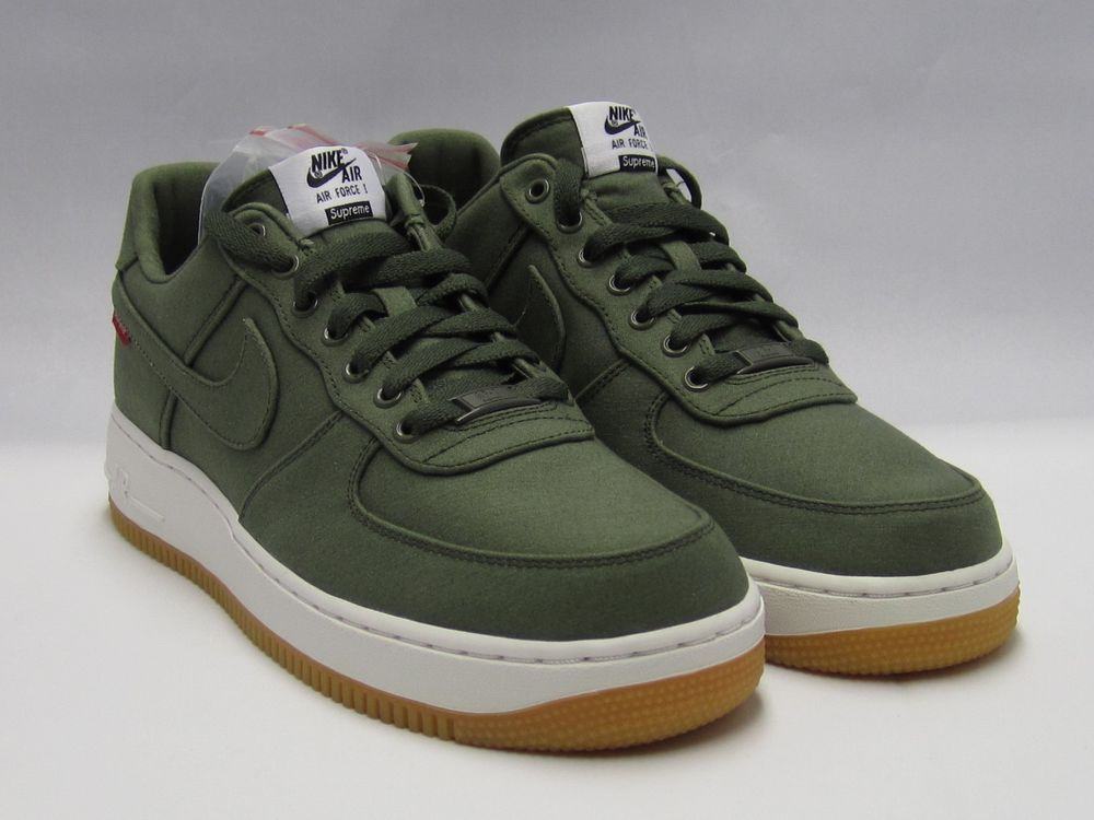NIKE SUPREME AIR FORCE 1 LOW PREMIUM FW 12 08 NRG CARGO KHAKI OLIVE BLACK  CANVAS