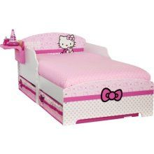 Hello Kitty Toddler Bed With Underbed Storage And Bedside Shelf