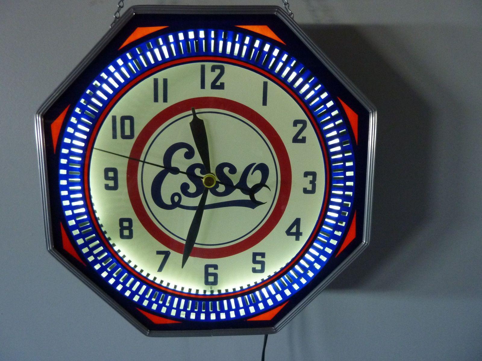 Esso Vintage Clock 18 Quot Neon Spinner Octagon Clock
