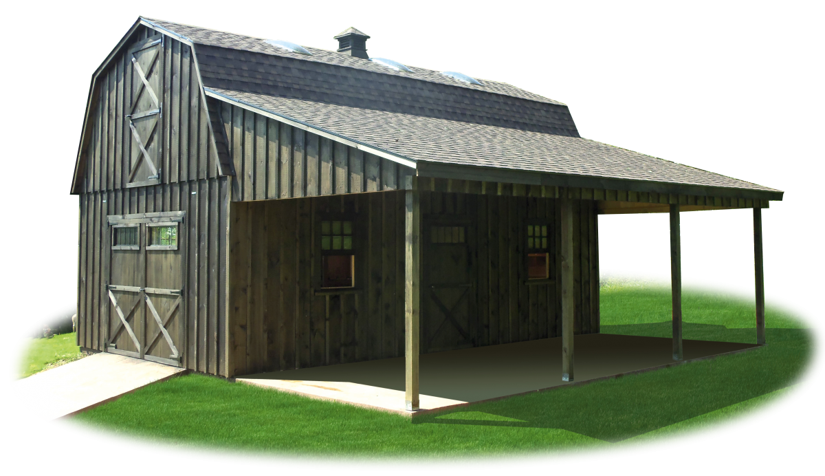 Two story workshop package board n batten gambrel barn for Lean to barn
