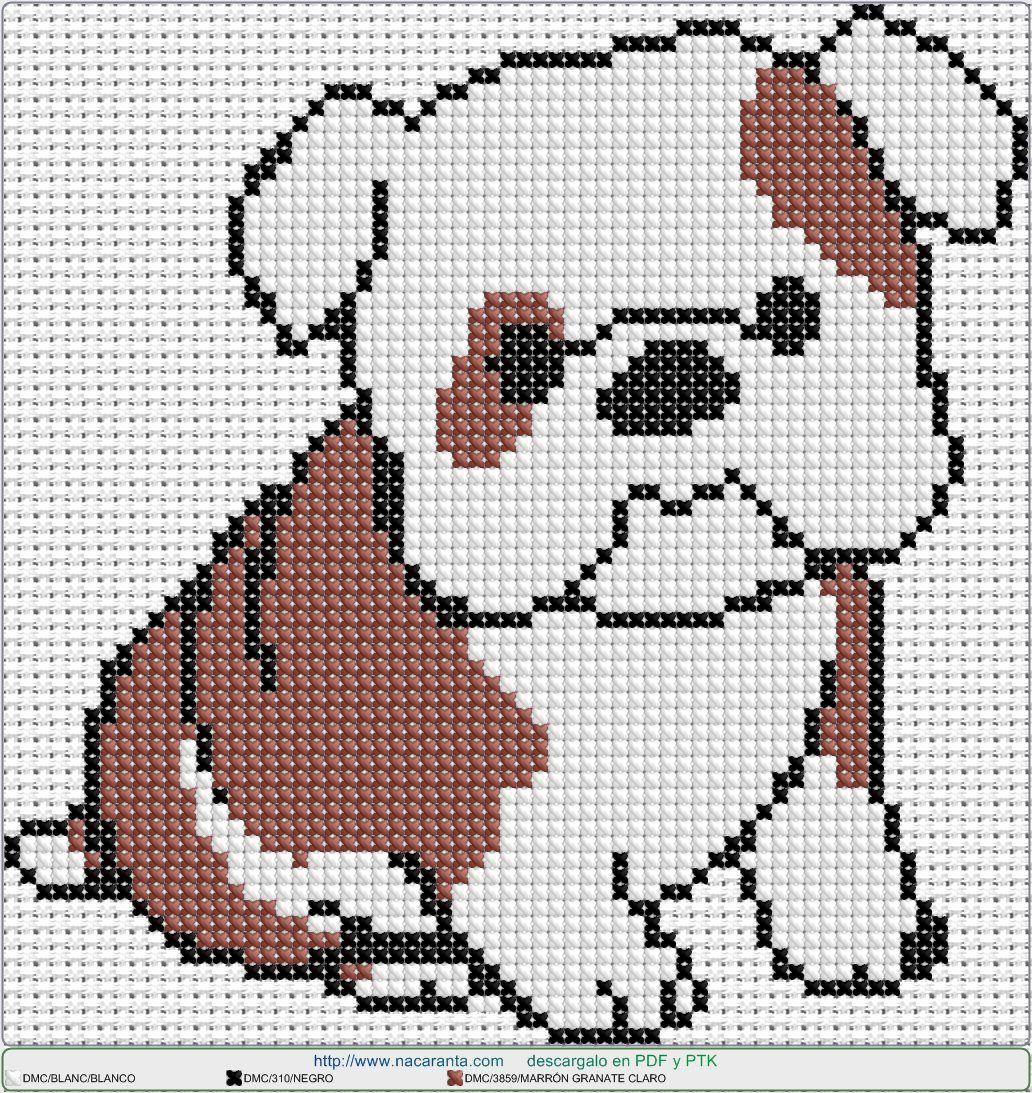bulldog EN PUNTO DE CRUZ, Cross stitch patterns | Monogramas ...