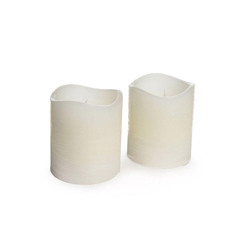 LED-Kerze Rustic, 2 Stück, ca D:5cm x H:5,8cm, creme