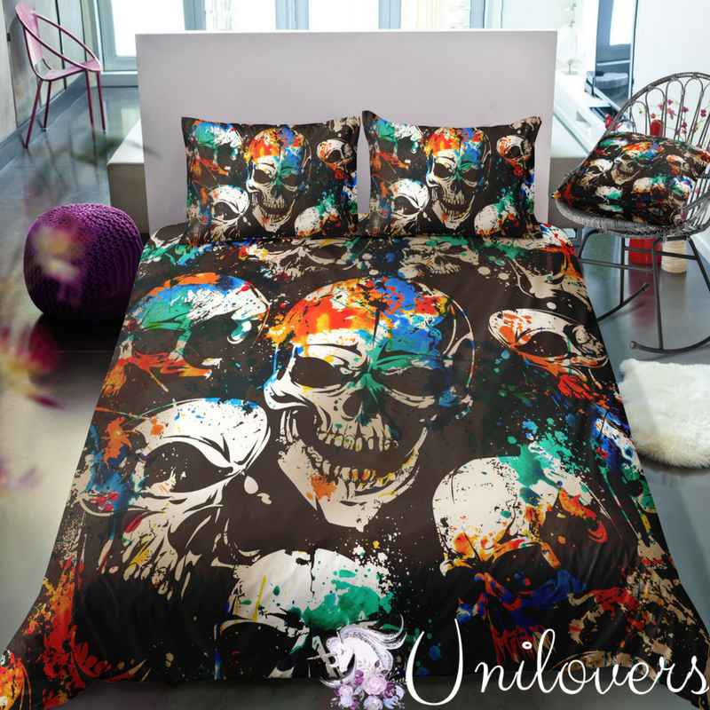 Horror Skulls Colorful Grunge Pattern Bedding Set | Skull ...