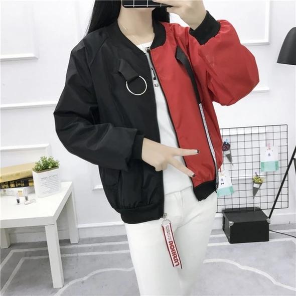 Plus Size Baseball Jacket Patchwork Korean Style Streetwear Oversize C Geekbuyig Women Overcoat Basic Jackets Jackets